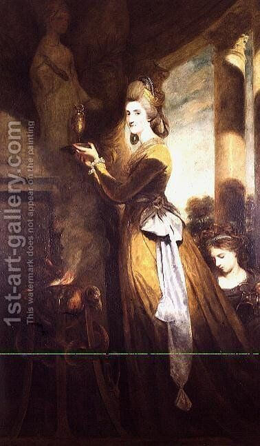 Mrs. Peter Beckford, 1781-2 The wife of a Dorset Gentleman portrayed making a libation to the Greek goddess of health, Hygeia, whose emblem was a snake by Sir Joshua Reynolds - Reproduction Oil Painting