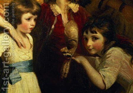 Two Girls, One Playing with a Mask, detail from the painting The Fourth Duke of Marlborough and his family, 1777-78 by Sir Joshua Reynolds - Reproduction Oil Painting