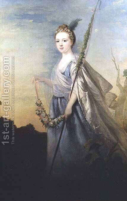 Portrait of Miss Amelia Watts 1750-70 C.1745 by Sir Joshua Reynolds - Reproduction Oil Painting