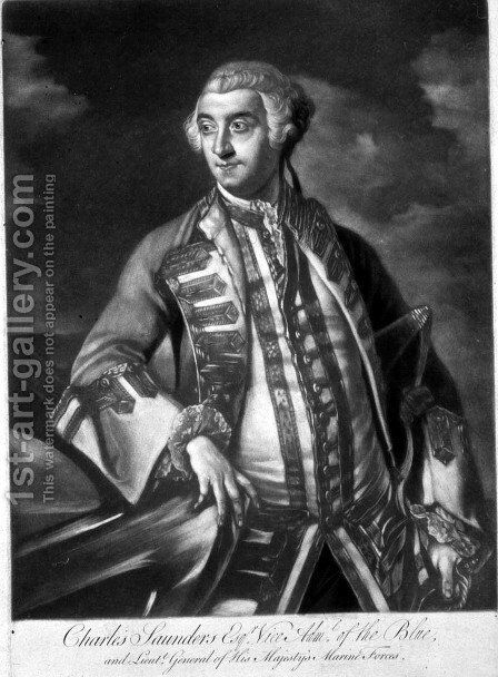 Portrait of Admiral Sir Charles Saunders c.1713-75 Vice-Admiral of the Blue squadron, engraved by James McArdell c.1729-65 by Sir Joshua Reynolds - Reproduction Oil Painting