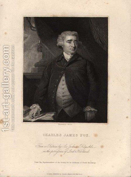 Charles James Fox 1749-1806, engraved by John William Cook by Sir Joshua Reynolds - Reproduction Oil Painting
