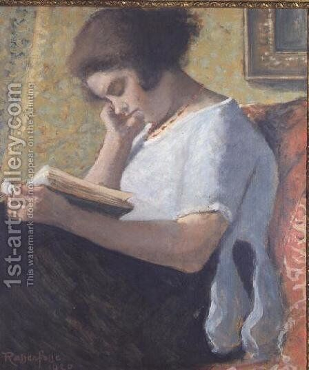 Young Girl Reading, 1920 by Armand Ressenfosse - Reproduction Oil Painting