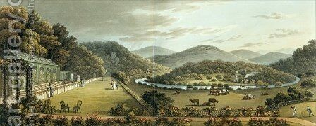 General View from the South and East Fronts of the Cottage at Endsleigh, Devon, After from Fragments on the Theory and Practice of Landscape Gardening, pub. 1816 by Humphry Repton - Reproduction Oil Painting