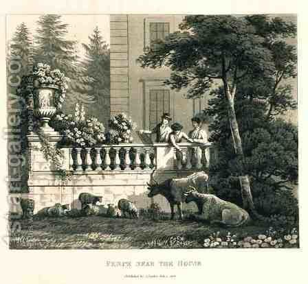 Fence near the House, from Fragments on the Theory and Practice of Landscape Gardening, pub. 1816 by Humphry Repton - Reproduction Oil Painting
