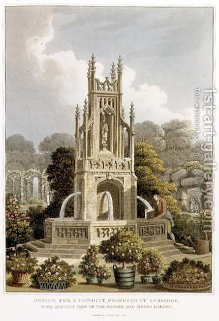 Design for a Conduit, Proposed at Ashridge, with Distant View of the Rosary and Monks Garden, from Fragments on the Theory and Practice of Landscape Gardening, pub. 1816 by Humphry Repton - Reproduction Oil Painting