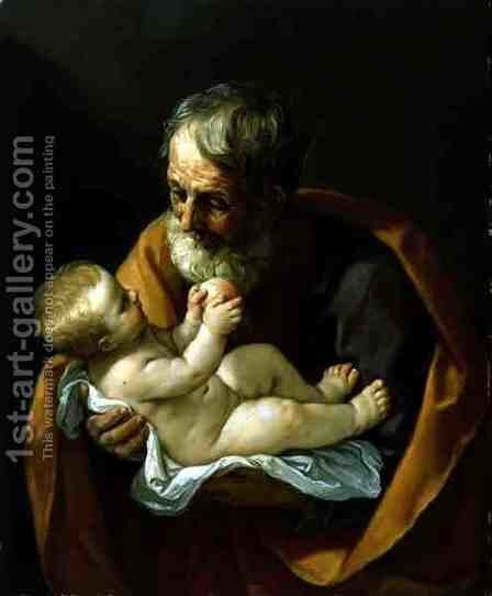 St. Joseph and the Christ Child, 1634-40 by Guido Reni - Reproduction Oil Painting