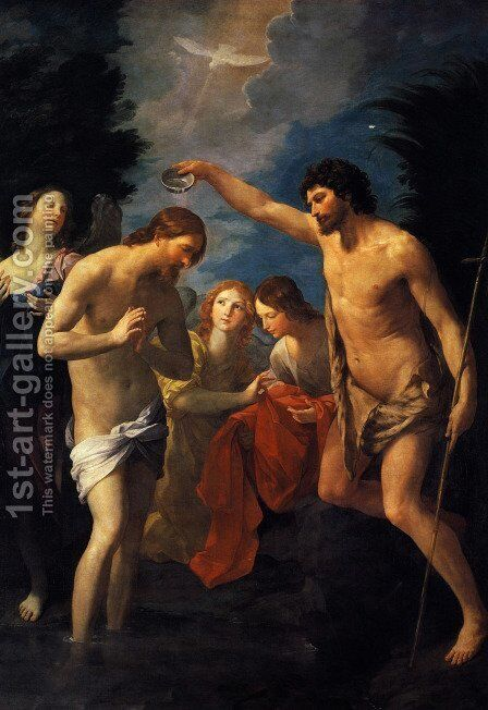 The Baptism of Christ, 1623 by Guido Reni - Reproduction Oil Painting