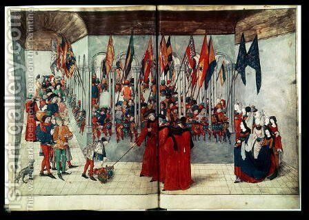 Ms. fr. 2692 fol.47v-48r Preparations for a Tournament, from a treatise by Duke of Anjou and King of Naples Rene or Renatus I - Reproduction Oil Painting