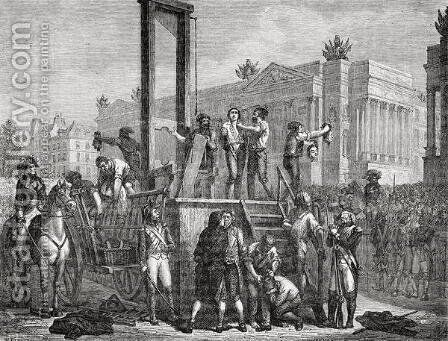 The Execution of Robespierre and his Followers in 1794, engraved by Jonnard by (after) Renaud, Henri - Reproduction Oil Painting