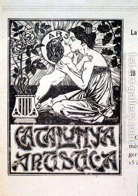 Catalunya Artistica, book cover designed by Joaquim Renart b.1879 pub. in Barcelona, 1904 by Joaquim Renart - Reproduction Oil Painting