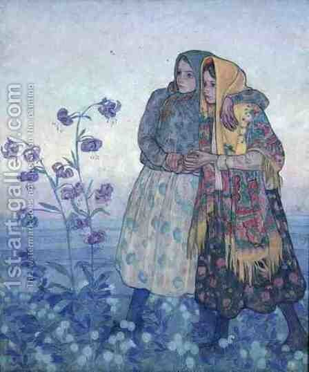 Procession of Polish Highland Women, c.1910 by Jan Rembowski - Reproduction Oil Painting