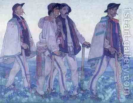Procession of Polish Highlanders, c.1910 by Jan Rembowski - Reproduction Oil Painting