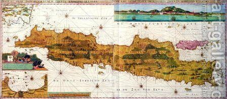 Insulae lavae, a large folding map of Java with two insets both depicting views of Batavia Jakarta Dutch, published by Gerard van Keulen, Amsterdam, c.1715 by Adrian Reland - Reproduction Oil Painting
