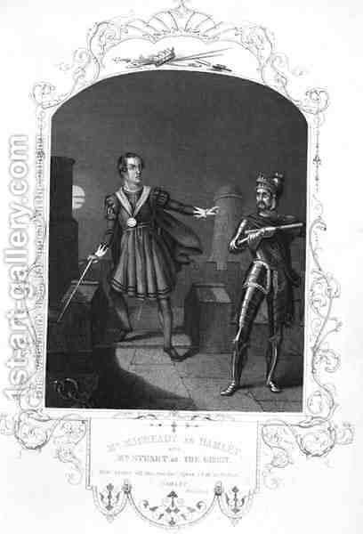 Mr Macready as Hamlet and Mr Stuart as The Ghost, Act I Scene 5, in Hamlet by William Shakespeare 1564-1616 engraved by George Hollis 1792-1842 by Alexander Reid - Reproduction Oil Painting
