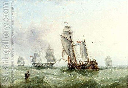 Dutch and British Shipping by Henry Redmore - Reproduction Oil Painting