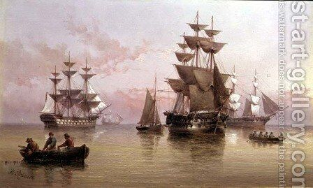 Evening Shipping Scene by Henry Redmore - Reproduction Oil Painting