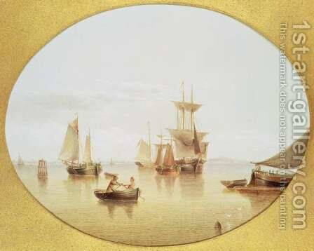 Harbour Scene - rowing ashore by Henry Redmore - Reproduction Oil Painting