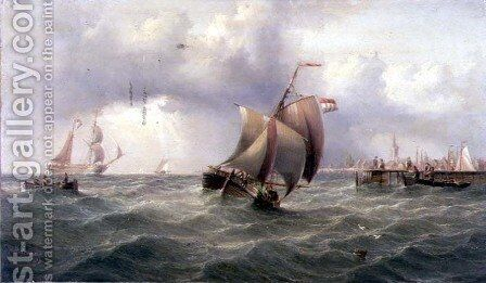 A Dutch Pink off a Jetty by Henry Redmore - Reproduction Oil Painting