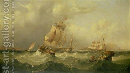 Sailing Ships off the coast at Tynemouth by Henry Redmore - Reproduction Oil Painting