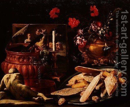 Still Life with Flowers in a Gilt Urn, a Painting and Cakes on a Salver by Giuseppe Recco - Reproduction Oil Painting