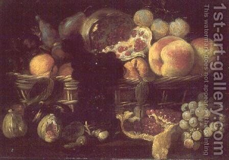 A basket of fruit and a plate of fruit by Giuseppe Recco - Reproduction Oil Painting