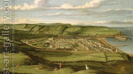 Whitehaven, Cumbria, Showing Flatt Hall, c.1730-35 by Matthias Read - Reproduction Oil Painting