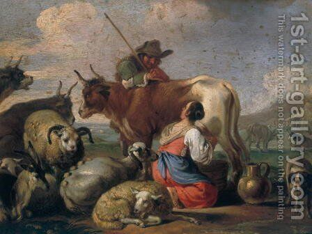 Milking Shepherds by Christian Reder - Reproduction Oil Painting