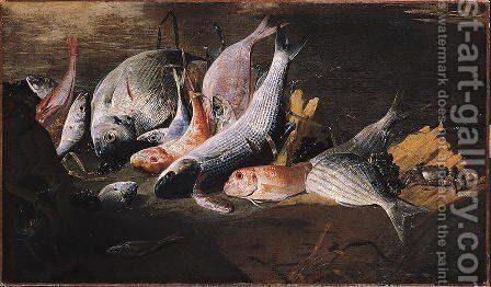 Fish and Crab by Giuseppe Recco - Reproduction Oil Painting