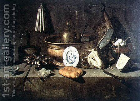 Still Life in a Kitchen by Giuseppe Recco - Reproduction Oil Painting