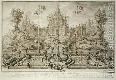 The Cuccagna, from Narrazione delle Solemni Reali Feste , engraved by Giuseppe Vasi 1710-82, published 1749 by (after) Re, Vincenzo dal - Reproduction Oil Painting