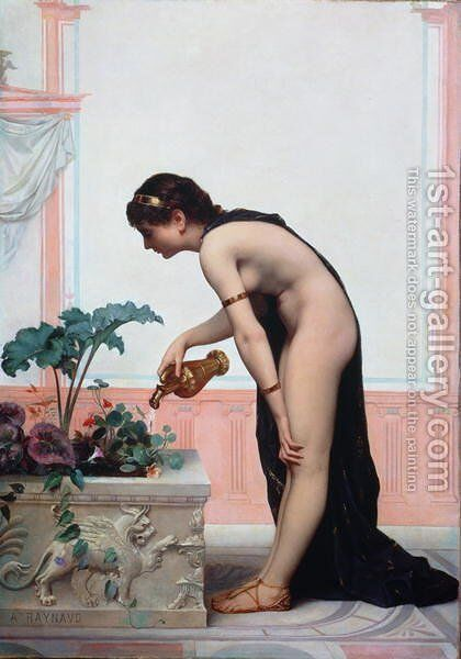Watering the Garden by Auguste Raynaud - Reproduction Oil Painting