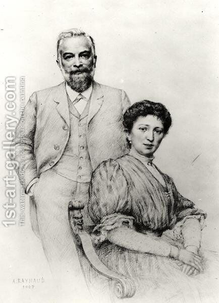 Adolphe Giraudon 1849-1929 and his wife, Claire, 1907 by Auguste Raynaud - Reproduction Oil Painting