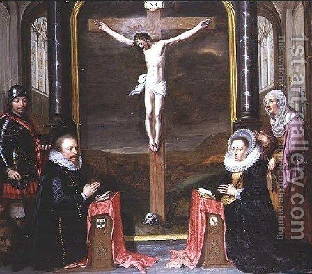 A Crucifixion with Portraits of the Donors Adriaen Meusyenbroeck and his Wife, Anna Elant, Attended by St. Adrian and St. Elizabeth, 1618 by Jan Anthonisz. van Ravestyn - Reproduction Oil Painting