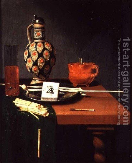 Still Life with a Stoneware Jug and Glass and Smoking Requisites by Hubert van Ravenstyn - Reproduction Oil Painting
