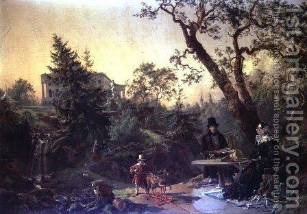Family Group in the Garden of a Country House by Johann Nepomuk Rauch - Reproduction Oil Painting