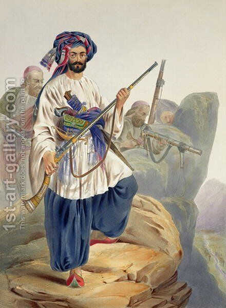 Ko-i-Staun Foot Soldiery in Summer Costume, Actively Employed among the Rocks, plate 12 from Scenery, Inhabitants and Costumes of Afghanistan, engraved by Robert Carrick c.1829-1904 1848 by (after) Rattray, James - Reproduction Oil Painting