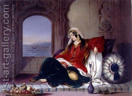 Kandahar Lady of Rank, Engaged in Smoking, plate 29 from Scenery, Inhabitants and Costumes of Afghanistan, engraved by Robert Carrick c.1829-1904 1848 by (after) Rattray, James - Reproduction Oil Painting