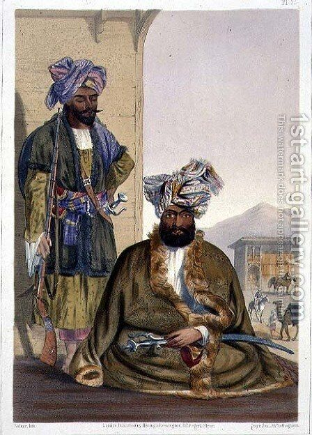 Gool Mahommed Kaun, King of the Ghilgies, plate 25 from Scenery, Inhabitants and Costumes of Afghanistan, engraved by W.L.Walker, 1848 by (after) Rattray, James - Reproduction Oil Painting
