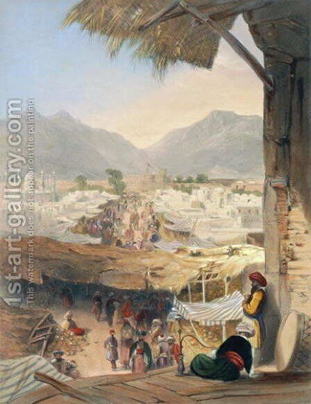 City of Kandahar, its Principal Bazaar and Citadel, Taken from the Nakarra Khauneh, or Royal Band Room, plate 28 from Scenery, Inhabitants and Costumes of Afghanistan, engraved by Robert Carrick c.1829-1904 1848 by (after) Rattray, James - Reproduction Oil Painting