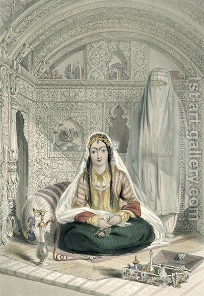 Ladies of Caubul in their In and Out-of-Door Costume, plate 24 from Scenery, Inhabitants and Costumes of Afghanistan, engraved by Walker, 1848 by (after) Rattray, James - Reproduction Oil Painting