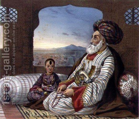 Dost Mahommed 1793-1863 King of Caubul and his Youngest Son, plate 2 from Scenery, Inhabitants and Costumes of Afghanistan, engraved by E. Walker, 1848 by (after) Rattray, James - Reproduction Oil Painting