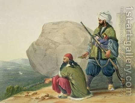 Afghaun Foot Soldiers in their Winter Dress, with Entrance to the Valley of Urgundeh, plate 11 from Scenery, Inhabitants and Costumes of Afghanistan, engraved by Robert Carrick c.1829-1904 1848 by (after) Rattray, James - Reproduction Oil Painting