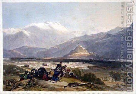 Bala Hissar and City of Kabul with the British Cantonments from the Ba Maroo Hill, Hostilities Commencing, plate 16 from 'Scenery, Inhabitants and Costumes of Afghanistan, engraved by R. Carrick c.1829-1904, 1848 by (after) Rattray, James - Reproduction Oil Painting