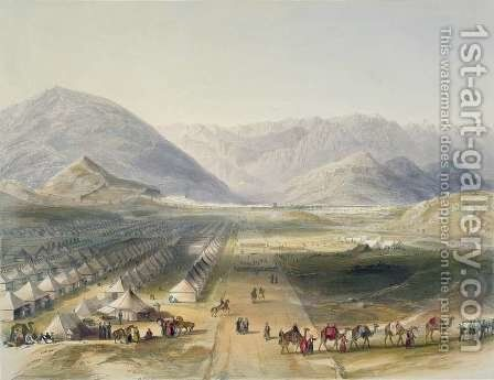 Encampment of the Kandahar Army under General Nott, outside the walls of Caubul, on the evacuation of Afghanistan by the British, plate 5 from Scenery, Inhabitants and Costumes of Afghanistan, engraved by R. Carrick c.1829-1904, 1848 by (after) Rattray, James - Reproduction Oil Painting
