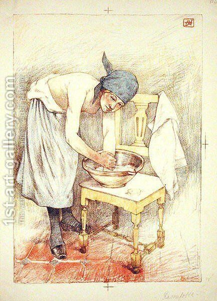 Girl Washing, from LEstampe Moderne, published Paris 1897-99 by Armand Rassenfosse - Reproduction Oil Painting