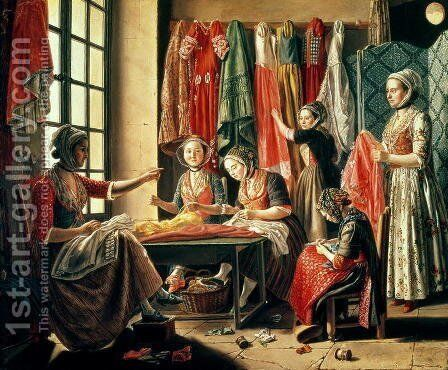 The Couturiers workshop, Arles, 1760 by Antoine Raspal - Reproduction Oil Painting