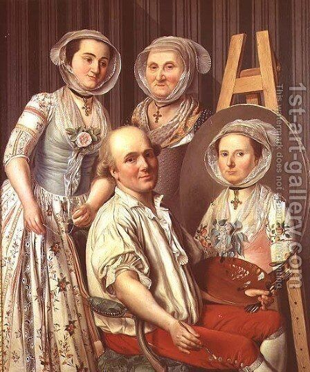 The Artist and His Family by Antoine Raspal - Reproduction Oil Painting