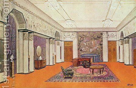 Salon for an Ambassador, project for the Exposition des Arts Decoratifs in 1925, designed by the artist by Henri Rapin - Reproduction Oil Painting