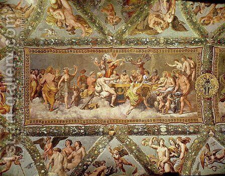 The Banquet of the Gods, ceiling painting of the Courtship and Marriage of Cupid and Psyche by (after) Raphael (Raffaello Sanzio of Urbino) - Reproduction Oil Painting