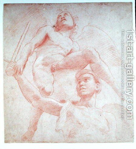 Angel and a figure representing the planet Mars by (after) Raphael (Raffaello Sanzio of Urbino) - Reproduction Oil Painting